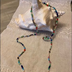 Colourful long string bead necklace